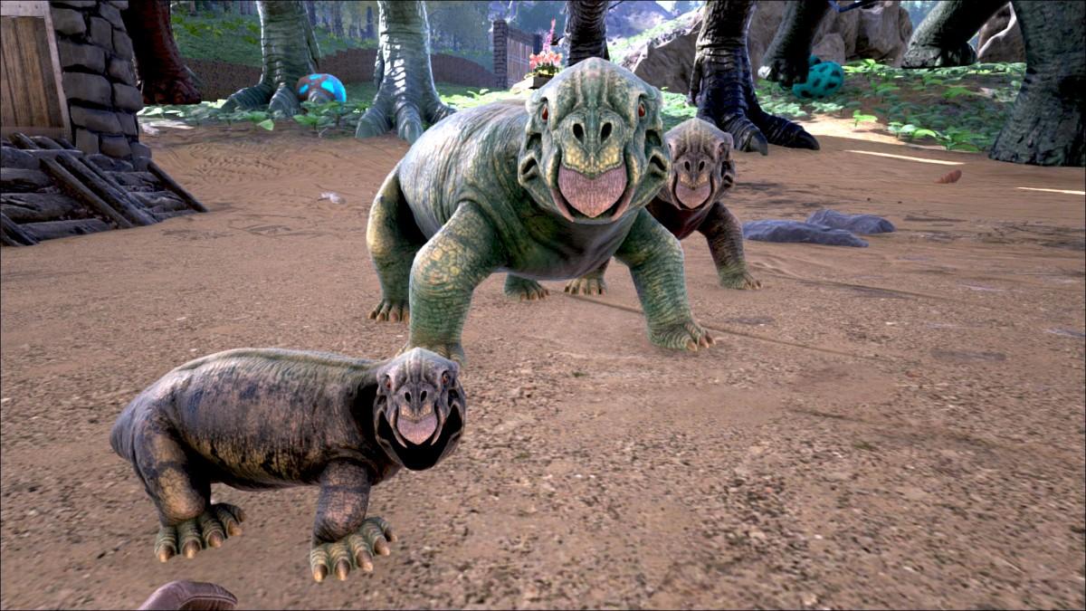 Lystrosaurus Familie mit Nachwuchs