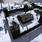 Das Fort im Schneebiom mit der Taverne zum Nachtlicht Kap, dem Marktplatz und des Handwerkshauses