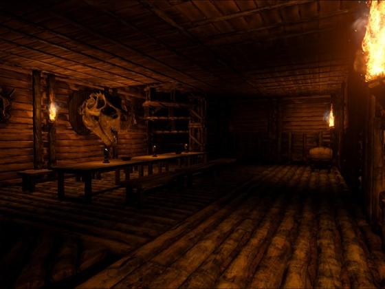 Der Saal im Mittelgeschoss des Wirtshauses bei Nacht
