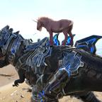 Pink Fluffy Unicorn standing on Tek-Rex