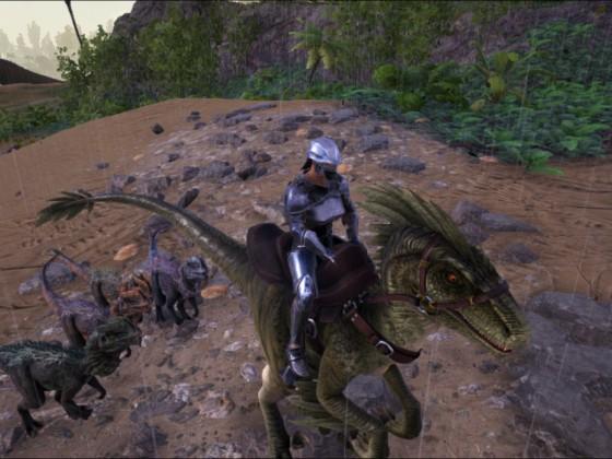 Meine kleine Tierschar (zu dem Raptor vorn kamen noch 2 weitere Raptoren)